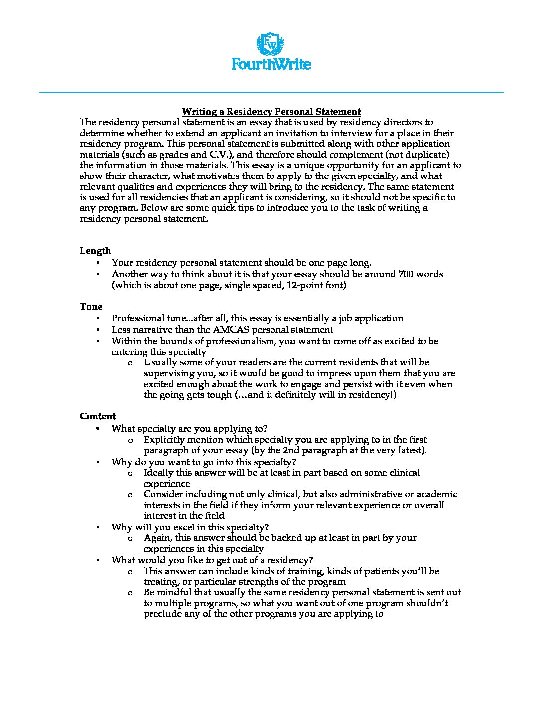how to write personal statement for residency